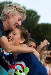 Silver medalist Allison Schmitt of USA with her mother at the victory ceremony after the Women's 4x 200m Freestyle Final during the 13th FINA World Championships Roma 2009, on July 30, 2009, at the Stadio del Nuoto,  in Foro Italico, Rome, Italy. (Photo by Vid Ponikvar / Sportida)