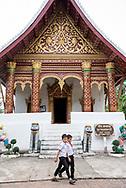 Schoolboys at a temple in Luang Prabang.