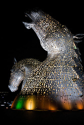 The Kelpies, at Grangemouth Falkirk, are 30m (98ft) tall horse head statues beside the Forth and Clyde Canal, in Helix park. The 300-ton sculptures were created by Glasgow artist Andy Scott and inspired by the shape shifting mythological creatures called Kelpies which are reputed to haunt the rivers and streams of Scotland.<br /> <br />  7 September 2015<br />  Image © Paul David Drabble <br />  www.pauldaviddrabble.co.uk