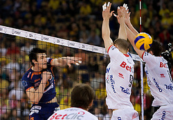 Vid Jakopin of ACH vs Andrea Sala and Lukasz Zygadlo of Trentino at 2nd Semifinal match of CEV Indesit Champions League FINAL FOUR tournament between ACH Volley, Bled, SLO and Trentino BetClic Volley, ITA, on May 1, 2010, at Arena Atlas, Lodz, Poland. Trentino defeated ACH 3-1. (Photo by Vid Ponikvar / Sportida)