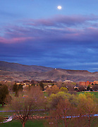 Idaho, Boise, moonrise - early spring evening