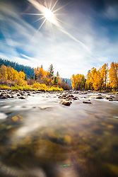 """""""Truckee River in Autumn 17"""" - A very long exposure photo of Cottonwood trees and fall colors along Truckee River in Truckee, California."""