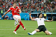 Russia Artem Dzyuba (L) scoring the 3-0 with Egypt Ahmed Hegazy (R) during the 2018 FIFA World Cup Russia, Group A football match between Russia and Egypt on June 19, 2018 at Saint Petersburg Stadium in Saint Petersburg, Russia - Photo Stanley Gontha / Pro Shots / ProSportsImages / DPPI