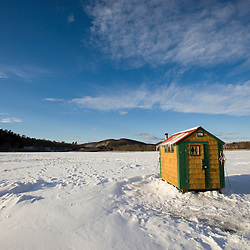 Ice fishing shack on the West River in Brattleboro, Vermont.  Bob House.