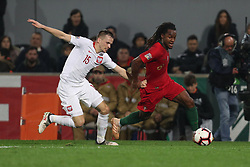 November 20, 2018 - Guimaraes, Guimaraes, Portugal - Renato Sanches midfielder of Portugal (R) vies with Tomasz Kedziora defender of Poland (L) during the UEFA Nations League football match between Portugal and Poland at the Dao Afonso Henriques stadium in Guimaraes on November 20, 2018. (Credit Image: © Dpi/NurPhoto via ZUMA Press)