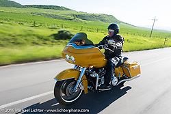 Israel Lopez of Lavillas, Cuba on his 2012 Road Glide riding from Steamboat Springs to Doc Holliday's Harley-Davidson in Glenwood Springs during the Rocky Mountain Regional HOG Rally, Colorado, USA. Thursday June 8, 2017. Photography ©2017 Michael Lichter.