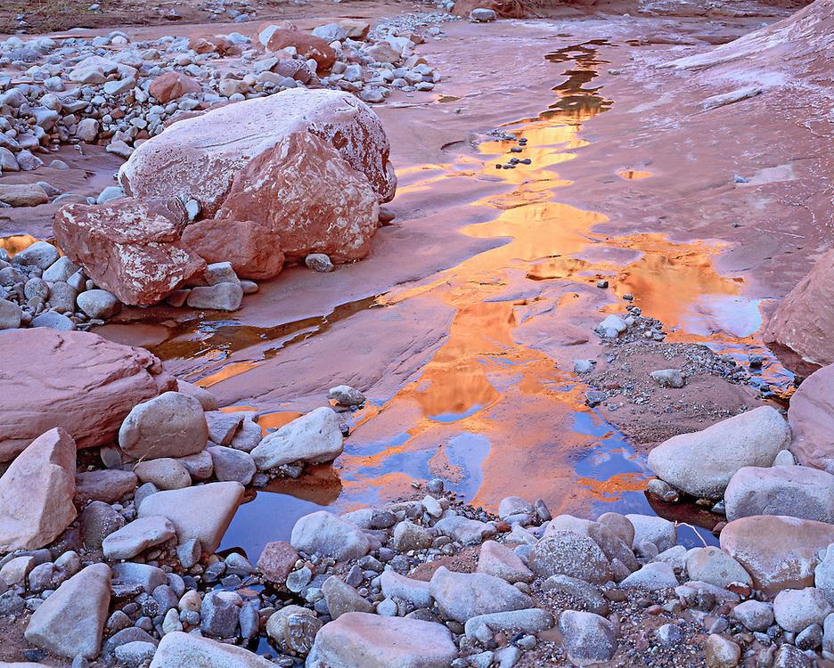 Redrock Canyon Walls and Sky Reflecting in Creek Water, Glen Canyon National Recreation Area, Utah