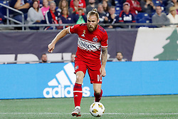 September 22, 2018 - Foxborough, MA, U.S. - FOXBOROUGH, MA - SEPTEMBER 22: Chicago Fire midfielder Aleksandar Katai (10) sets up the first goal of the game during a match between the New England Revolution and the Chicago Fire on September 22, 2018, at Gillette Stadium in Foxborough, Massachusetts. The teams played to a 2-2 draw. (Photo by Fred Kfoury III/Icon Sportswire) (Credit Image: © Fred Kfoury Iii/Icon SMI via ZUMA Press)