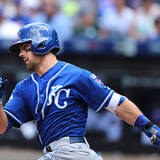 NEW YORK, NEW YORK - June 22: Whit Merrifield #15 of the Kansas City Royals batting during the Kansas City Royals Vs New York Mets regular season MLB game at Citi Field on June 22, 2016 in New York City. (Photo by Tim Clayton/Corbis via Getty Images)