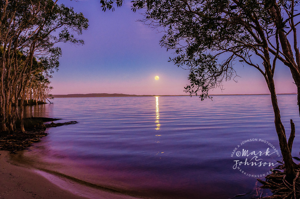 Super Moon rising over Lake Cootharaba, Elanda Point, Queensland, Australia