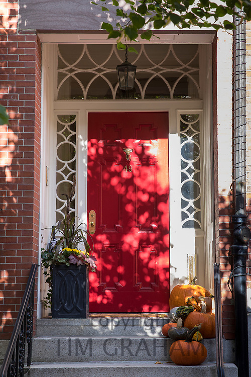 Elegant front door of a home at Halloween in the Beacon Hill historic district of Boston, Massachusetts, USA
