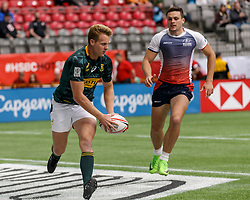 March 10, 2018 - Vancouver, British Columbia, U.S. - VANCOUVER, BC - MARCH 10: Dylan Sage (#3) of South Africa scores during Game # 2- South Africa vs Russia Pool D match at the Canada Sevens held March 10-11, 2018 in BC Place Stadium in Vancouver, BC. (Photo by Allan Hamilton/Icon Sportswire) (Credit Image: © Allan Hamilton/Icon SMI via ZUMA Press)
