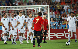 Team Italy in block and David Villa of Spain shooting during the UEFA EURO 2008 Quarter-Final soccer match between Spain and Italy at Ernst-Happel Stadium, on June 22,2008, in Wien, Austria.  (Photo by Vid Ponikvar / Sportal Images)