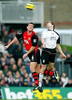 Fotball<br /> Premier League England 2004/2005<br /> Foto: BPI/Digitalsport<br /> NORWAY ONLY<br /> <br /> Fulham v Blackburn Rovers<br /> 27/11/2004<br /> <br /> Craig Short of Blackburn beats Brian McBride in the air