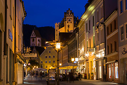 Evening lights, old town Fussen Germany