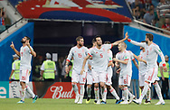 Diego costa (L) of Spain celebrates after his goal during the 2018 FIFA World Cup Russia, Group B football match between Portugal and Spain on June 15, 2018 at Fisht Stadium in Sotschi, Russia - Photo Tarso Sarraf / FramePhoto / ProSportsImages / DPPI