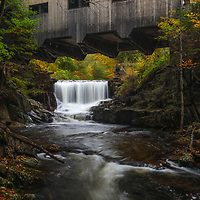 Massachusetts photography of Mill Brook Falls below the Bissell Covered Bridge in Charlemont, Massachusetts. I love this picturesque New England scenery and in autumn with peak fall foliage colors there is nothing more that screams New England at you.<br />