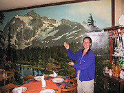 Fadul Restaurant in Ushuaia (in Tierra del Fuego province, Argentina, South America) displays a wall sized picture of Mount Shuksan at Picture Lake, Washington, USA. For licensing options, please inquire.