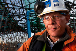 Olympic Park Portrait. Portrait of Mark Lightowler, a steel erector working on the construction of the Aquatics Centre. Picture taken on 18 Sep 09 by David Poultney.