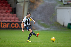 Dunfermline's Louis Longridge (10) scoring their second goal. Dunfermline 2 v 2 Alloa Athletic. Alloa win on penalties. Irn Bru cup game played 13/10/2018 at Dunfermline's home ground, East End Park.