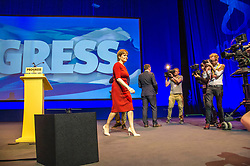 Pictured: Nicola Sturgeon topped the bill on the final day of th SNP conference<br /> The members of the SNP gathered in the Scottish Events Centre in Glasgow for their annual conference.<br /> <br /> Ger Harley | EEm 910 October 2017