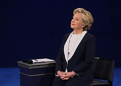 Hillary Clinton listens during the second debate between the Republican and Democratic presidential candidates on Sunday, October 9, 2016 at Washington University in St. Louis, Mo. Photo by Christian Gooden/St. Louis Post-Dispatch/TNS/ABACAPRESS.COM