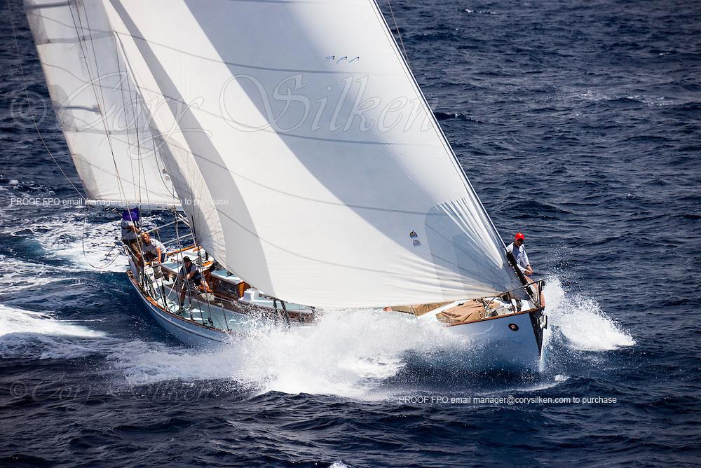 Stormvogel sailing in the Antigua Classic Yacht Regatta, Windward Race.