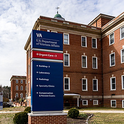 Coatesville, PA / USA - February 24, 2020: A directional sign at the US Department of Veterans Affairs Medical Center in Coatesville PA.