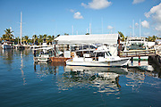 Fishing boats in the harbor at Stock Island, Key West, Florida.