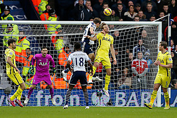 Craig Dawson of West Brom gets a headed shot bast Harry Kane of Tottenham Hotspur with it rattling the crossbar - Photo mandatory by-line: Rogan Thomson/JMP - 07966 386802 - 31/01/2015 - SPORT - FOOTBALL - West Bromwich, England - The Hawthorns - West Bromwich Albion v Tottenham Hotspur - Barclays Premier League.