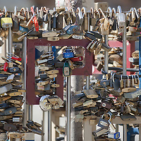 Locks closed to a fence as a symbol of ethernal love in a public park in central Budapest, Hungary on March 17, 2012. ATTILA VOLGYI