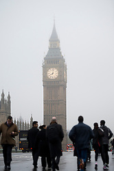 © London News Pictures. 22/10/2012. London, UK.  Fog covered Big Ben in Westminster, central London on October 22, 2012 . Photo credit: Ben Cawthra/LNP