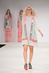 © Licensed to London News Pictures. 01/06/2015. London, UK. Collection by Sophie Thropp. Fashion show of Nottingham Trent University at Graduate Fashion Week 2015. Graduate Fashion Week takes place from 30 May to 2 June 2015 at the Old Truman Brewery, Brick Lane. Photo credit : Bettina Strenske/LNP