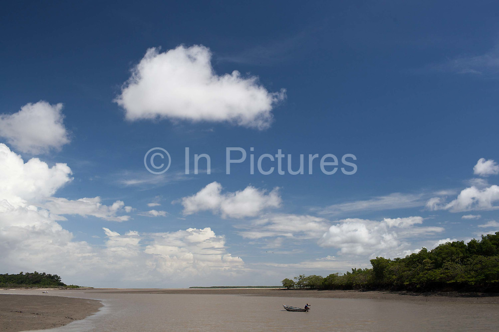 A boat on the river in Alcantara on 27th May 2014, Maranhao, Brazil. It is an island off the north east coast of Brazil close to Sao Luis, state capital of, and is one of the largest Quilombos in Brazil, which are communities that were originally set up by escaped or freed slaves during the colonial period.