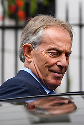 ©  London News Pictures. 05/07/2016. London, UK. Former British prime minister TONY BLAIR seen leaving his office in central London on July 5, 2016. The the long-awaited Chilcot inquiry into the war in Iraq is due to be released on Wednesday. Photo credit: Ben Cawthra/LNP