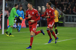 07.11.2018, Champions League, FC Bayern vs AEK Athen, Allianz Arena  Muenchen,  Fussball, Sport, im Bild:...Robert Lewandowski (FCB) und Leon Goretzka (FCB) jubeln zum 1:0..DFL REGULATIONS PROHIBIT ANY USE OF PHOTOGRAPHS AS IMAGE SEQUENCES AND / OR QUASI VIDEO...Copyright: Philippe Ruiz..Tel: 089 745 82 22.Handy: 0177 29 39 408.e-Mail: philippe_ruiz@gmx.de. (Credit Image: © Philippe Ruiz/Xinhua via ZUMA Wire)