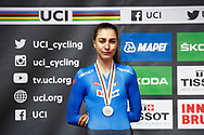 Podium 2nd place Camilla Alessio (Italy) during the 2018 UCI Road World Championships, Women Juniors Individual Time Trial 20 km on September 24, 2018 in Innsbruck, Austria - Photo Luca Bettini / BettiniPhoto / ProSportsImages / DPPI