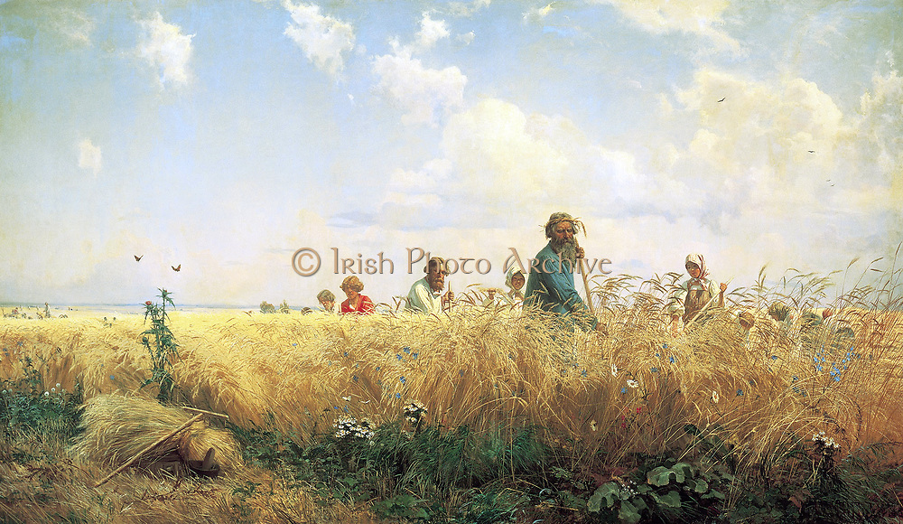 Peasants gather the harvest' by Gregory Grigorjewitsch Mjassojedow (Russian artist) 1834/35 - 1911