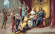 Chivalry in the Middle Ages. A knight paying homage to his lord. Cavalier War Military Europe Nineteenth century Trade Card Chromolithograph