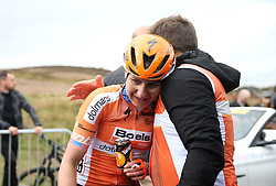 Boels-Dolmans' Megan Guarnier is exhausted after crossing the line in first place to win the stage during day two of the ASDA Women's Tour de Yorkshire from Barnsley to Ilkley.