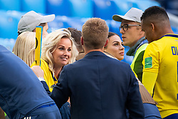 July 3, 2018 - St Petersburg, Russia - 180703 Sebastian Larsson of Sweden talks to his wife after winning the FIFA World Cup round of 16 match between Sweden and Switzerland on July 3, 2018 in ST Petersburg..Photo: Petter Arvidson / BILDBYRÃ…N / kod PA / 87748 (Credit Image: © Petter Arvidson/Bildbyran via ZUMA Press)