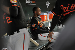 June 16, 2017 - Baltimore, MD, USA - Baltimore Orioles second baseman Jonathan Schoop pauses on the bench before grabbing his mitt to head out to the field to play against the St. Louis Cardinals at Oriole Park at Camden Yards in Baltimore on Friday, June 16, 2017. The Cardinals won, 11-2. (Credit Image: © Karl Merton Ferron/TNS via ZUMA Wire)