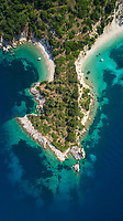 Aerial view of the coast on Ithaca island, Greece.