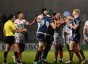 Sale Sharks Josh Strauss tussles with Connacht's Denis Buckley during a European Challenge Cup Quarter Final match in Eccles, Greater Manchester, United Kingdom, Friday, March 29, 2019.  (Steve Flynn/Image of Sport)