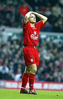 Liverpool's Danny Murphy holds his head in his hands after missing a chance against Sunderland during the Premiership match at Anfield, Liverpool, Sunday, November 17th, 2002. <br /><br />Pic by David Rawcliffe/Propaganda<br /><br />Any problems call David Rawcliffe on +44(0)7973 14 2020 or email david@propaganda-photo.com - http://www.propaganda-photo.com