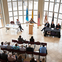 GGEDC Executive Director Patricia Lundstrom introduces State Land Commissioner Stephanie Garcia Richard at a State Land Office signing ceremony Monday May 6, at the McKinley County Courthouse in Gallup.
