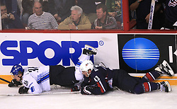 Jussi Jokinen of Finland and James Wisniewski of USA  at ice-hockey match Finland vs USA at Qualifying round Group F of IIHF WC 2008 in Halifax, on May 11, 2008 in Metro Center, Halifax, Nova Scotia, Canada. (Photo by Vid Ponikvar / Sportal Images)