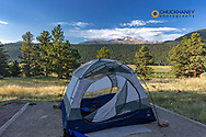 Tent campsite at Moraine Park in Rocky Mountain National Park, Colorado, USA