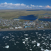 An aerial veiw of Barrow, Alaska, the northernmost city in the United States.