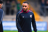 Funso Ojo of Scunthorpe United (6) warming up during the EFL Sky Bet League 1 match between Scunthorpe United and Coventry City at Glanford Park, Scunthorpe, England on 5 January 2019.